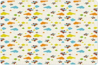 Lunarable Nursery Pet Mat for Food and Water, Flying Airplanes with a Cartoon Style Fun Clouds in, Rectangle Non-Slip Rubber Mat for Dogs and Cats, Dark Orange and Blue