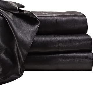 Satin Radiance 201 1XSS Luxury Charmeuse Satin Sheet Set with Deep Fitting Pockets, 3 Piece Sheet and Pillowcase Set - Twin XL, Black