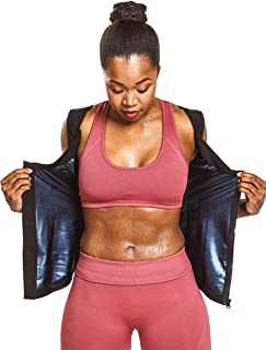 Sweat Shaper Women's Premium Workout Compression Athletic Zip Tank, Slimming Zip Vest