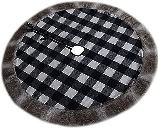 Gireshome White and Black Buffalo Check Plaid Center, Deluxe Faux Fur Border Christmas Tree Skirt (50inch)