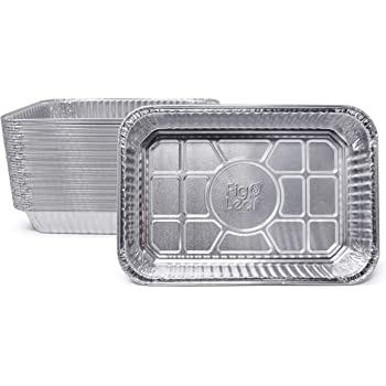 """Fig & Leaf (35 Pack) Drip Pans Compatible with Weber Grills 6415 Pans l Disposable Aluminum Foil BBQ Grease Trays l Top Dimension 8.6"""" x 6"""" l Bottom Dimension 7.5"""" x 5"""""""