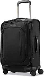 Samsonite Lineate Expandable Softside Carry on with Spinner Wheels, Obsidian Black (Black) - 121632-0413