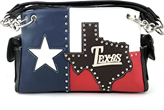 Justin West Texas Red White Blue Flag Patriotic Chain Shoulder Concealed Carry Handbag Purse Trifold Wallet