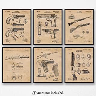 Original Remington Guns Patent Art Poster Prints, Set of 6 (8x10) Unframed Photos, Great Wall Art Decor Gifts Under 20 for Home, Office, Garage, Man Cave, Student, Teacher, Cowboys, NRA & Movies Fan