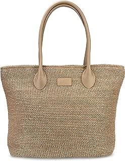 Weekender Lightweight Synthetic Straw Shopper Tote Womens Shoulder Handbag