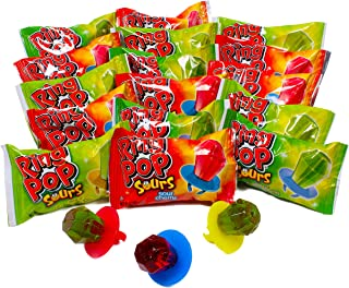 Ring POP Sours Individually Wrapped Bulk Variety Halloween Party Pack - Candy Lollipop Suckers W/ Assorted Flavors, 30 Count (Pack of 1)