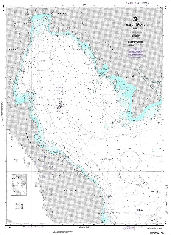 NGA Chart 93010 Gulf of Thailand 35.5  x 49  Matte Plastic Map