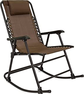 Best Choice Products Foldable Zero Gravity Rocking Mesh Patio Recliner Chair w/Headrest Pillow, Brown