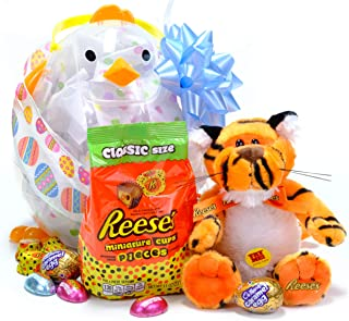 """Reese's Pieces Easter Peanut Butter Cup Gift Basket with Caramel Cadbury Egg and 11"""" Singing Tiger Plush. (He Sings a Peanut Butter Cup Song!) 10""""x7"""" Transparent Basket Shaped Like a Chicky"""