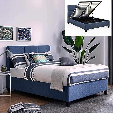 MOBILIER DECO Lit Coffre Contemporain en Tissu Bleu avec Le Sommier Relevable 160 X 200 Cm LARA