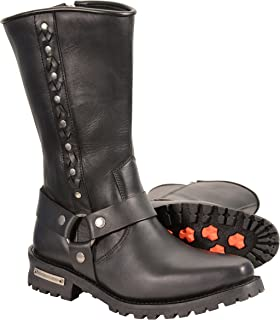 Milwaukee Leather Men's Harness Boots with Braid Riveted Details (Black, Size 9)