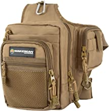 Wakeman Outdoors Fly Fishing Tackle Gear and Accessory Bag – Shoulder Pack with Carabiner Clip and Adjustable Strap for Camping, Fishing and Hiking