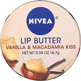 Nivea Lip Butter Loose Tin Vanilla and Macadamia Kiss 0.59 Ounce