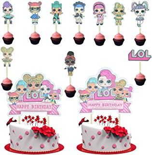 22 Pcs LOL Cake Topper,LOL Happy Birthday Party Supplies Cupcake Topper,Pink Cake Decorations for Bday Theme Party