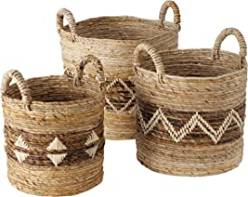 WHW Whole House Worlds Zig-Zag Belly-Band Baskets, Round, Top Handles, Natural Rolled Chunk Sweater Weave, Set of 3, 12.25...