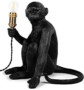 CosyMeadow Monkey Lamp Monkey Light - Unique Quirky Resin Black Lamps Decor for Table, Desk, Bedside, Living Room, Bedroom