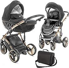 Junama Kombi-Kinderwagen Diamond Individual inkl. Babywanne, Sportsitz, Wickeltasche & Regenschutz - Schwarz Rosegold