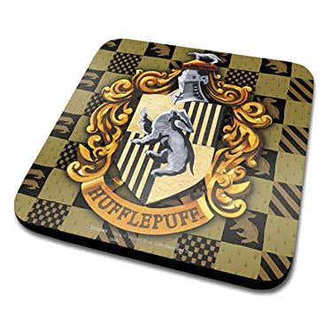 Harry Potter Hufflepuff Crest Official Drinks Coaster Protective Melamine Cover with Cork Base, Multi-Colour, 10 x 10 cm