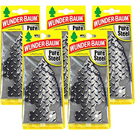 Wunderbaum 10x Pure Steel Orginal Lufterfrischer Duftbaum Fahrzeugduft 1 Stk Auto