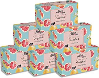 Mirah Belle - Organic Goat Milk, Grapefruit Cleansing Soap Bar (Pack of 6-125 gm) - Oily, Pigmented and Blemished Skin. SL...