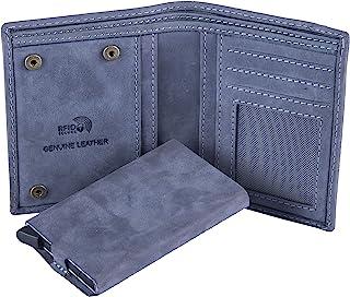 HIDE & SKIN Manchester Genuine Leather Wallet with Detachable Card Case for Men (Vintage Blue)