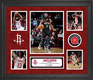 James Harden Houston Rockets Framed 5-Photo Collage with a Piece of Team-Used Basketball - NBA Player Plaques and Collages