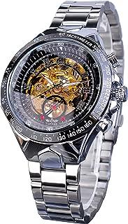Golden Movement Skeleton Stainless Steel Men Automatic Sport Wrist Watch