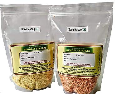 Monbangla Dal Combo - Premium Sona Masoor + Premium Sona Moong Dal (500g X 2)