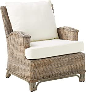 Panama Jack Sunrooms PJS-3001-KBU-LC Exuma Lounge Chair with Cushion, Light Beige