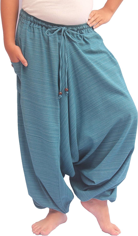 Wynnthaishop'100% Cotton Baggy Boho Aladin Yoga Harem Pants (SXL for Waist for 26   42 , bluee Sky1)