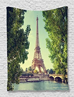 Ambesonne Paris Tapestry, Eiffel Tower Seine River Picture France European Landmark Image, Wall Hanging for Bedroom Living Room Dorm Decor, 40