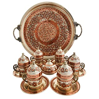 Copper Turkish Coffee Set, Six Greek Armenian Arabic Espresso Porcelain Cups Tray Sugar Bowl, with Silver-plate detail, Handcrafted by Mandalina Magic