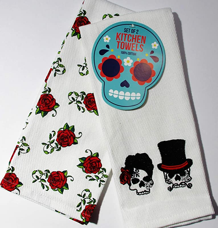 Mr Mrs Skull Skeleton Roses Kitchen Hand Dish Towel 2pc Set