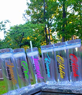 Personalized Tumbler cup drinkware wine Gift Wedding Bride Double Sealed Skinny Tumbler with Custom Monogram Straw Lid Bridesmaid, Bachelorette party birthday bff name