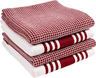 KAF Home KT-MADWF-OX-S4 Set of 4 Absorbent, Durable and Soft Towels | Perfect for Kitchen Messes and Drying Dishes, 18 x 28, Wine