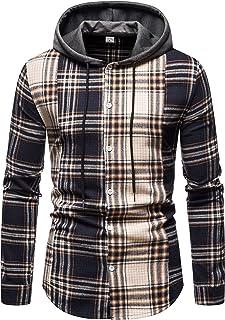 Iris Sprite Camicia A Manica Lunga Casual da Uomo con Cappuccio Camicia a Quadri