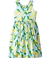 Oscar de la Renta Childrenswear - Painted Lemons Cotton V-Back Dress (Toddler/Little Kids/Big Kids)
