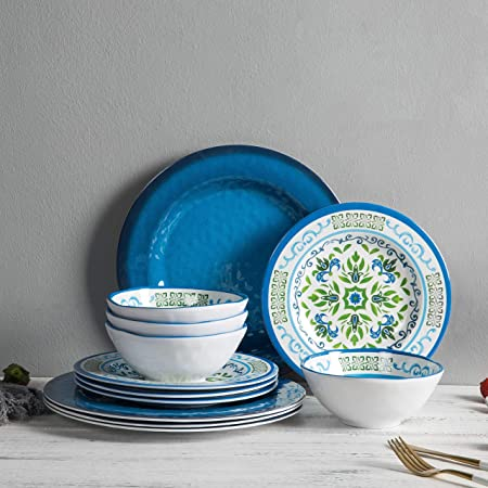 Melamine Dinnerware Set for 4 - 12pcs Dishes set ,Break-resistant, Unbreakable,Dishwasher Safe, Indoor Outdoor Use