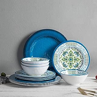 Melamine Dinnerware Set for 4, 12pcs Break-resistant Bowls and Plates Set for Camper Use, Service for 4, Dishwasher Safe, Indoor Outdoor Use
