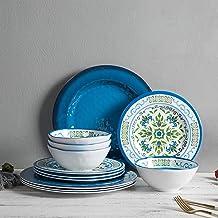 Melamine Dinnerware Set for 4-12pcs Dishes set,Break-resistant, Unbreakable,Dishwasher Safe, Indoor Outdoor Use