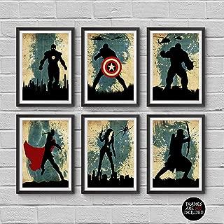The Avengers Minimalist Poster Set 6 Minimalist Watercolor Vintage Poster Marvel Super heroes Movie Print Captain America Iron Man Thor Hulk Black Widow Hawkeye Artwork Wall Art Home Decor