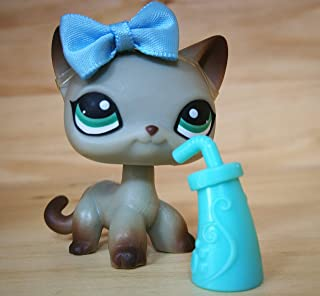 LPSOLD Old LPS Shorthair Cat 391 Grey Blue Eyes Kitten Kitty Pet with Magnet Clear Peg with Accessories Toys Figure Collection Rare Girl Boy Gift (lps Shorthair cat 391)