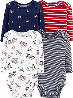 Carter's Baby Boys' 4-Pack Long Sleeve Original Multi Bodysuits
