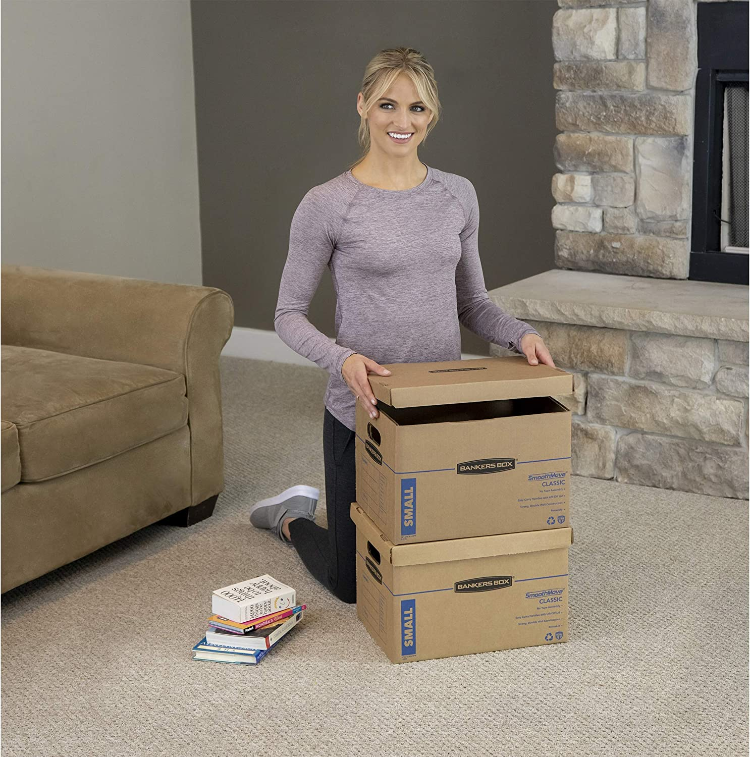 Tape-Free Assembly Easy Carry Handles Bankers Box SmoothMove Classic Moving Boxes 7717201 Medium 18 x 15 x 14 Inches,