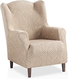 comprar comparacion Funda de sillón orejero elástica Aitana - Color Marfil - Tamaño 1 Plaza (de 70 a 110 cm)