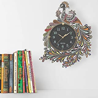 CAPIO ART Wooden Painted Peacock Antique Wall Clock for Home Wall Decor Stylish Round Shape Handmade Clocks Vintage Wall C...