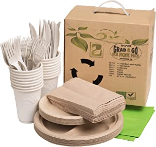Earth's Natural Alternative Wheat Straw Fiber, Bagasse (Sugarcane) Tree Free, Party Pack, Hiking, Grab & Go Eco Picnic Pack, 114-piece