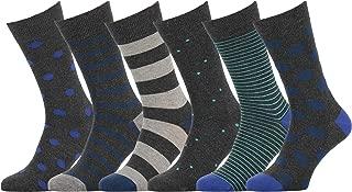 Mens Socks 6 Pack Colorful Fun Cool Patterned Dress Socks, European Made