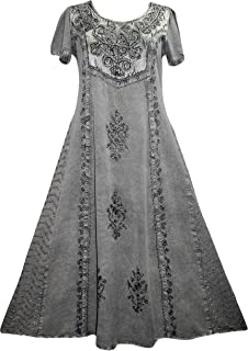 1004 DR Gothic Vintage Sleeveless Embroidered Casual Chic Twirl Sun Dress Gown