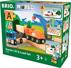 Brio Starter Lift&Load Set Wooden Toy Train, Multi